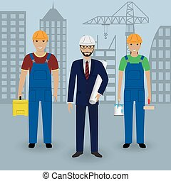 Construction people. Engineer in suit with drawings and couple of workers in overalls on a cityscape background.