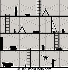 construction place art vector on grey