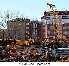 Construction place. Spring. Panoramic view. Irkutsk, Russia....