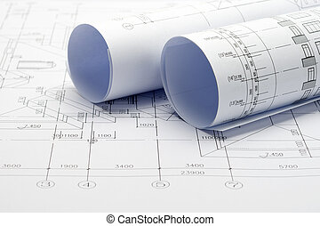 Construction plan blueprints construction plan blueprint stock construction plan blueprint rolls with drawings malvernweather Gallery
