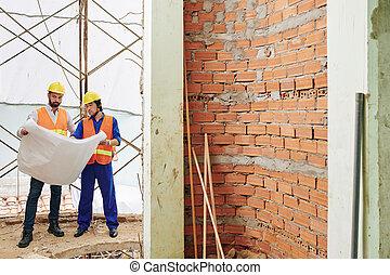 construction, plan, ouvriers