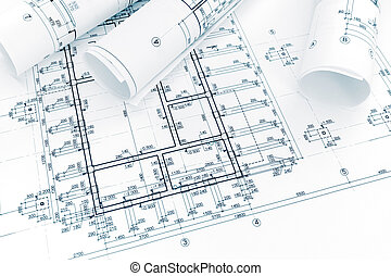construction plan, rolls of engineering blueprints. architectural background.