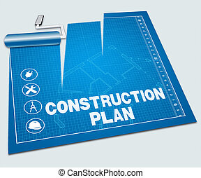 Construction Plan Shows Building Blueprint 3d Illustration