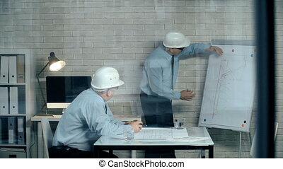 Construction Plan - Developer and contractor in helmets...