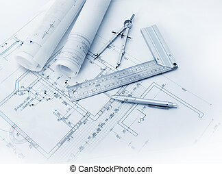 Construction plan tools and blueprint drawings