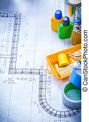 Construction plan with articles for painting and household...