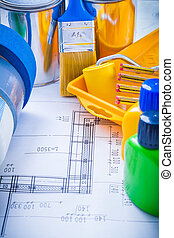 Construction plan with articles for painting duct tape and...