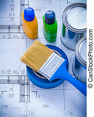 Construction plan with paint brush metal cans plastic...