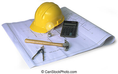 construction planning on white - blueprints, hard hat,...