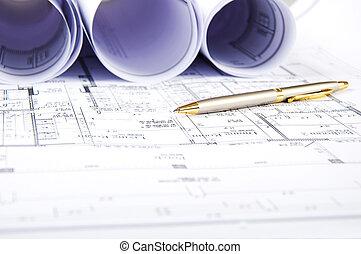 Construction plans, ball pen, business collage, paperwork