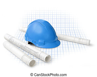 Construction drawing blueprints and hard hat isolated on grid