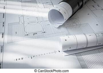 Construction plans of architectural project .