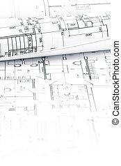 construction, plans, rouleaux