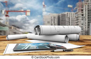construction plans - blueprints, tablet, calculator and pen...