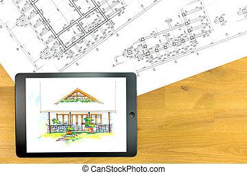 construction, plans, tablette, numérique