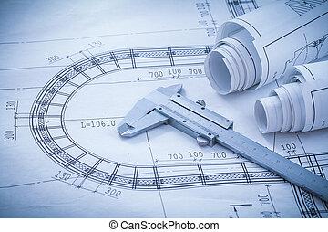 Construction plans vernier caliper on blueprint horizontal versi
