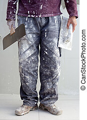 construction plaster plaster man dirty trousers - ...