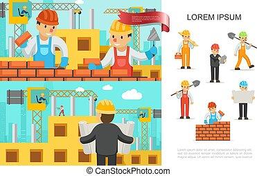 construction, plat, industrie, concept, coloré
