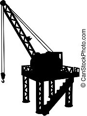 Silhouette of construction platform with crane