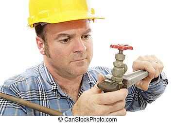 Construction Plumber Closeup