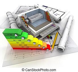 Construction, plumbing energy efficiency - 3D rendering of ...