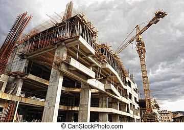 construction poloha, s, jeřáb, a, budova