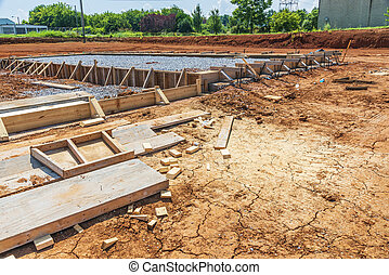 Construction Prepared For Concrete Pouring Slab of New Commercial Building