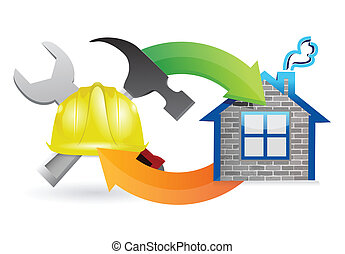 construction process under construction sign illustration ...