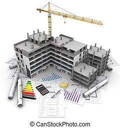 Construction project overview - Building under construction...