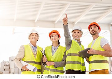 Construction project team. Building industry