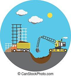 Construction project, vector illustration