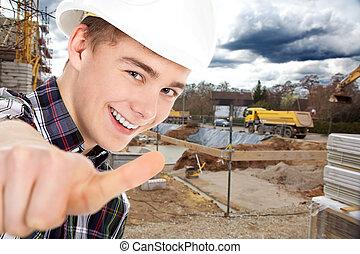 construction, projection, ouvrier, pouces