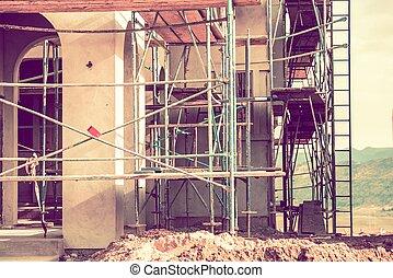 construction, résidentiel, site