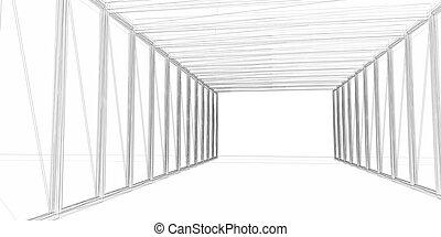 construction., résumé, moderne, -, concept, architecture, designing., architectural, 3d