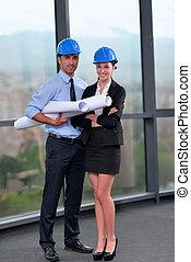 construction, réunion, ingénieurs, professionnels