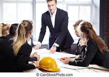 construction, réunion, professionnels