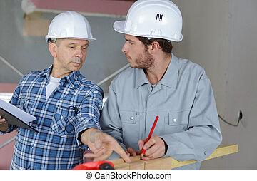 construction, réunion, site, ingénieurs