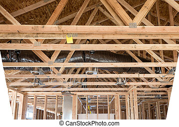 Construction rafters in the top of a new home