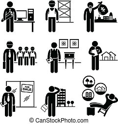 A set of pictograms showing the professions of people in the construction and real estates industry.