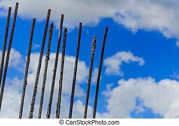 construction rebar and a blue sky