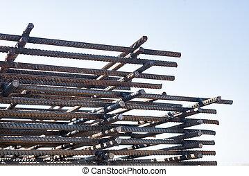 Construction rebar steel work reinforcement. Iron grid. Industrial background.