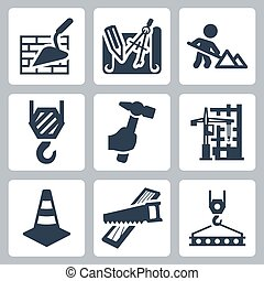 Construction related vector icons set