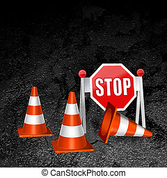 construction repair of roads concept vector background