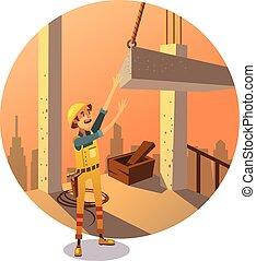 construction, retro, dessin animé