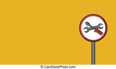 Construction roadsign symbol HD animation - Construction...