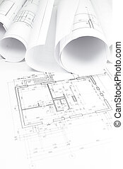 construction, rouleaux, plans