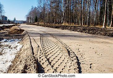 construction, route, nouveau, moderne