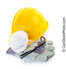 Construction safety equipment with hard hat, respirator,...