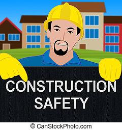 Construction Safety Showing Building Caution 3d Illustration