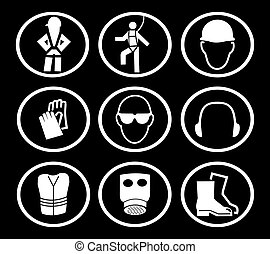 construction safety symbols - construction safety equipment...